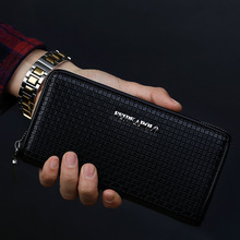 NEW HIGH QUALITY Embossing PU Leather Men Wallets Plaid Long Coin Purse card holder wallet men wallet zipper coin pocket brand недорго, оригинальная цена