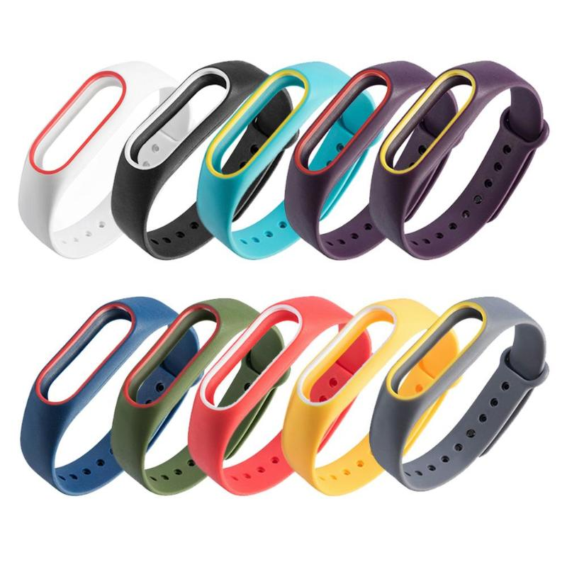 все цены на Colorful Silicone Wrist Strap Bracelet For Mi Band 2 Double Color Replacement watchband Smart Band Accessories For Xiaomi mi2 онлайн