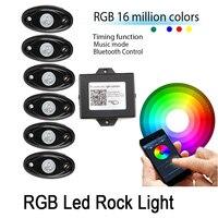 6X RGB LED Luz Roca Vainas Música Mini Intermitente Multicolor Underboy Underwheel para Off Road ATV SUV Truck Bluetooth App Control