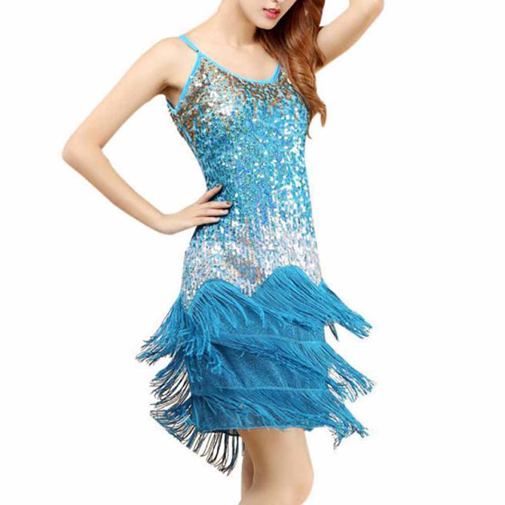 Ladies Gradient Sequin Fringe Dance Party Dress Vintage Gatsby ...