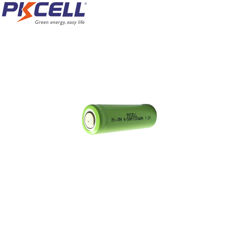 2Pcs PKCELL 4/5AA 1300mah 1.2v NIMH rechargeable battery 4/5 aa 14430 batteries in flat top non PCM in industrial pvc packing image