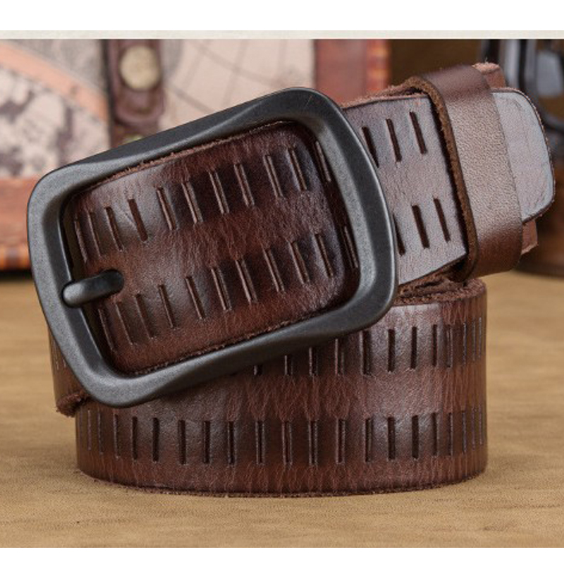 Luxury genuine leather chain belt men vintage leather belts men jeans strap black color wide strapping brown tactical waistband