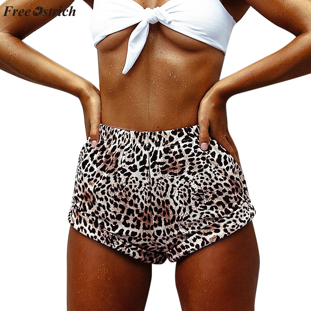 FREE OSTRICH 2019 new fashion trend women's casual   shorts   sexy wild leopard print loose comfortable beach mid-rise   shorts   hot