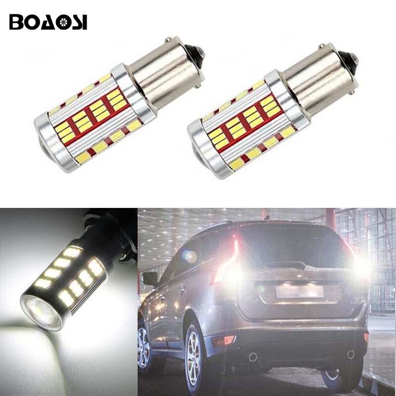 BOAOSI 2x Canbus 1156 P21W LED Samsung 4014 Chip High Power Backup Reverse Light for volvo xc90 xc60 v70 s80 s40 v60 c30 v50