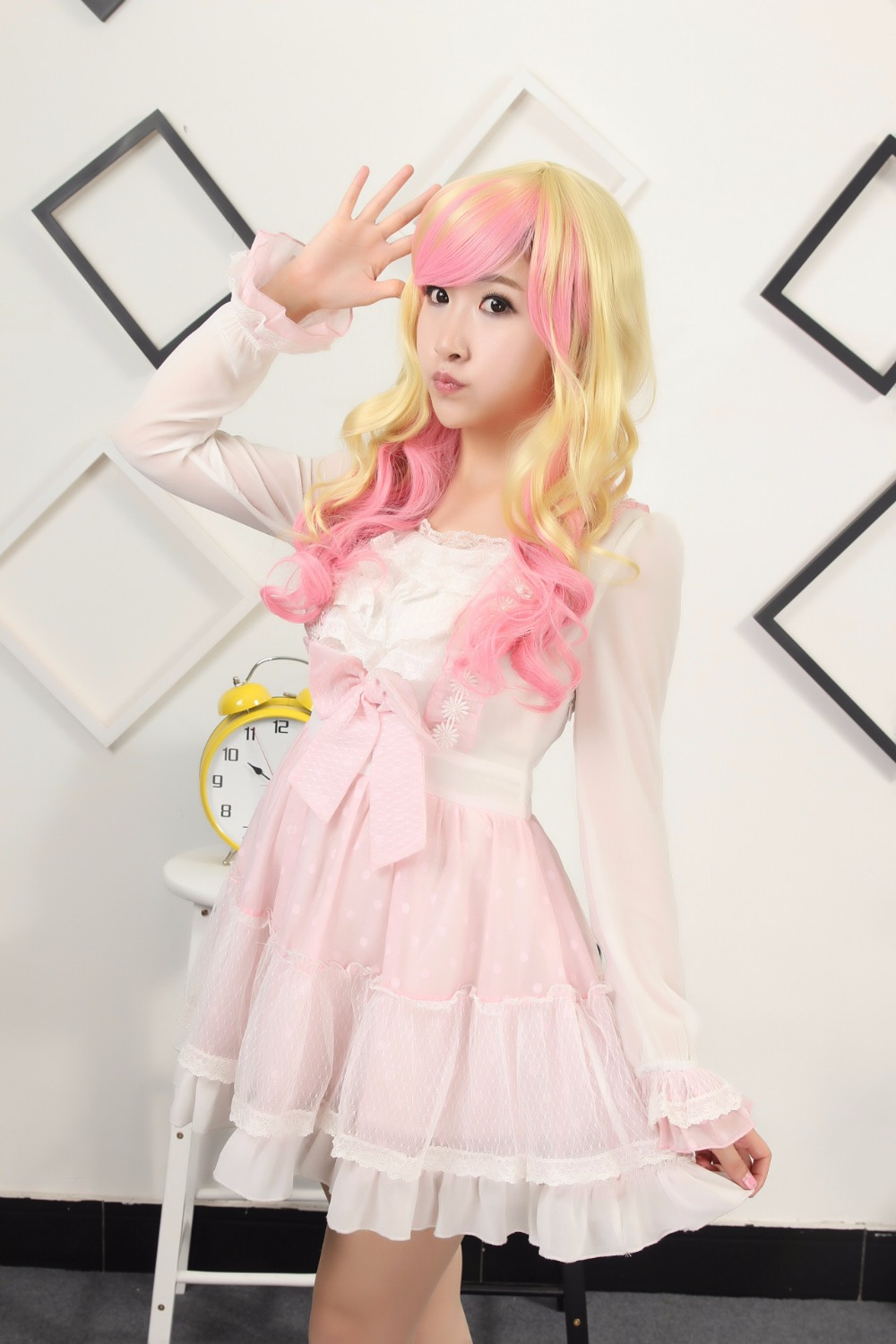 Lovely Long Wavy Curly Anime Wig Light Blonde And Pink Highlights