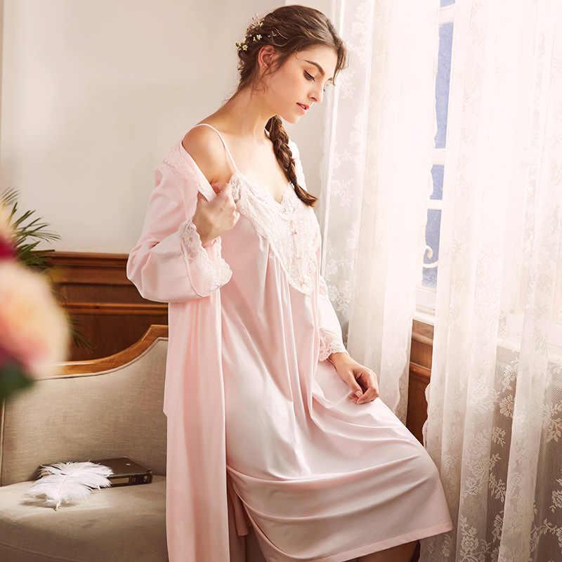 ff5a1409211f9 ... Pregnant Women Long Sleeve Cotton Sleepwear Nightgown Set Sexy Robe  Nightdress Two Piece Lace Maternity Lady ...