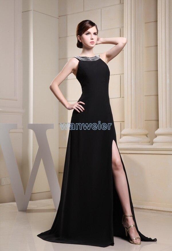 free Shipping High neck vestido longo New Arrival Custom Gown Beading sexy Long Luxury Real Photo black Chiffon Evening Dress