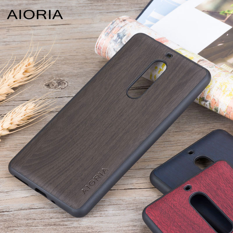 Galleria fotografica Wooden design case for <font><b>Nokia</b></font> 5 soft TPU silicone material with wood PU leather skin covers coque fundas for <font><b>Nokia</b></font> 3