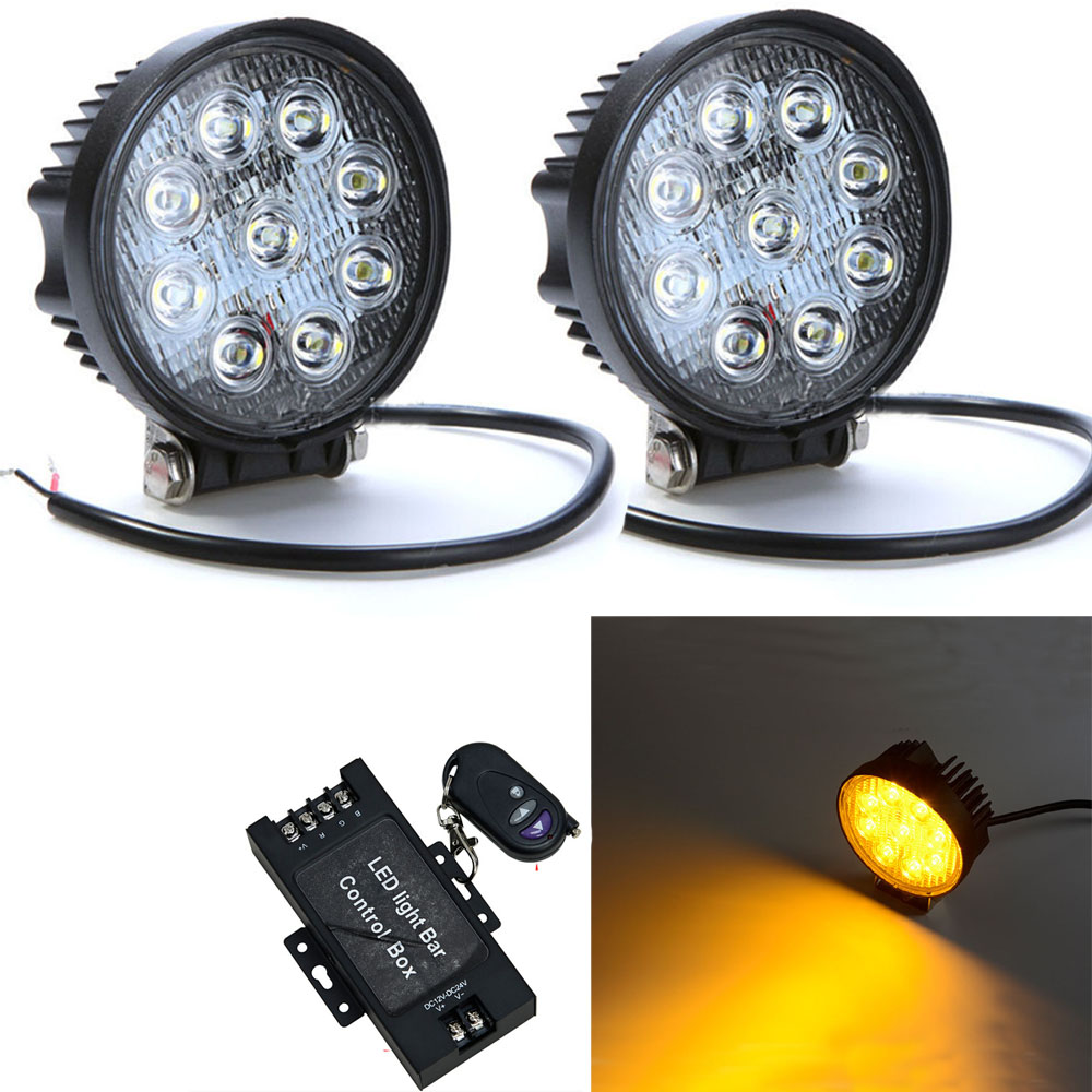 Spot Led Honzdda 27w Round Amber Led Strobe Fog Work Light 12v 24v Spot Led Strobe Flash Warning Light Fortrucks Tractor Atv Suv 4wd 4x4 In Light Bar Work