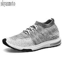 Skyaxmoto men's high-elastic fly woven cloth soft bottom cushion running shoes s