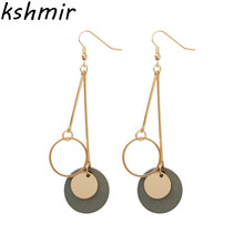 Fashionable retro geometric long wooden circular pendant earrings female temperament contracted joker