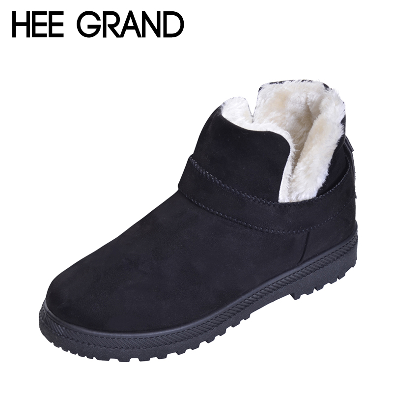 HEE GRAND Winter Warm Shoes Women Ankle Fashion Boots Faux Suede with Platform Woman's Boots size 35-44 XWX6060 цена