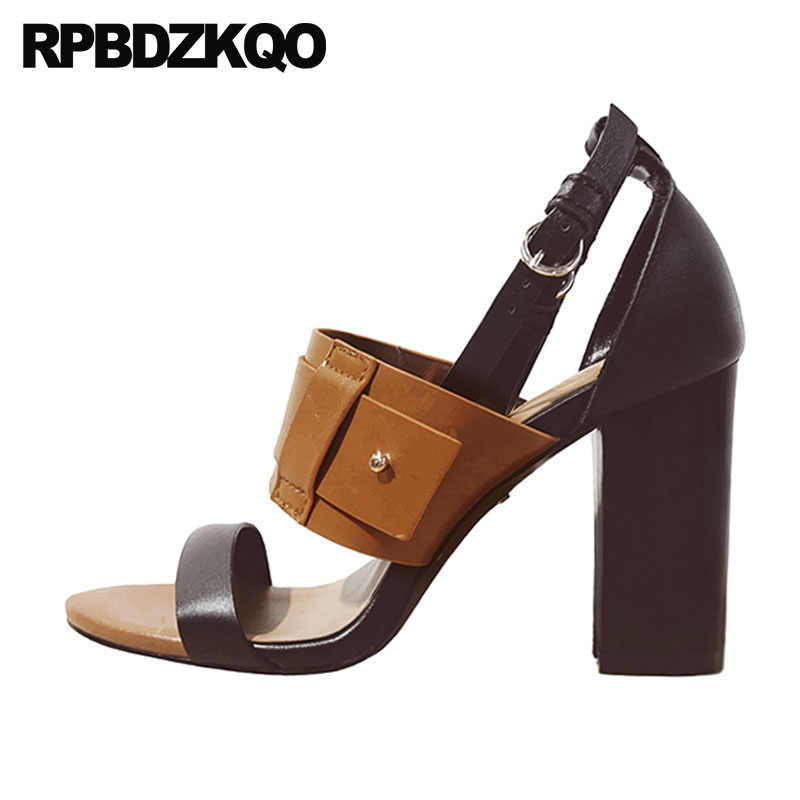a961fd63f1c Block Ankle Strap Vintage Gladiator Sandals Heels High Quality Designer  Genuine Leather Women Pumps Brown Thick