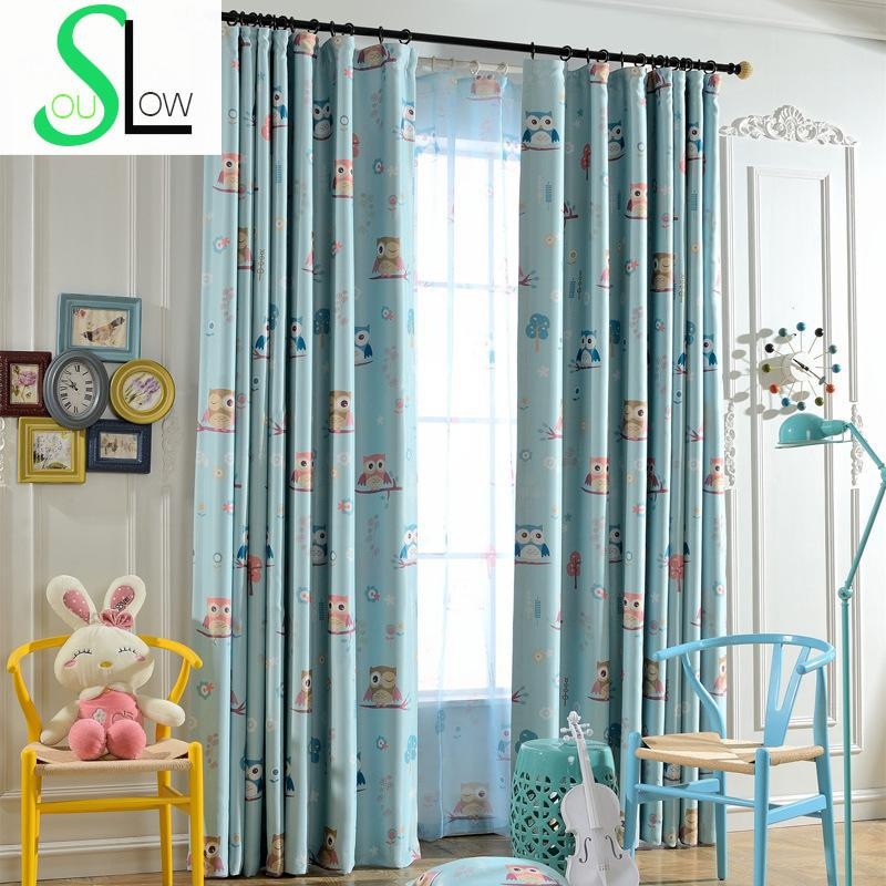 OwlNew Shade Curtain Cloth Factory Direct SalesCartoon Children Room Curtains For Bedroom Blue YellowCurtains Owl Roman Rings