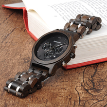 BOBO BIRD V-P19 Wood Watches Men Business Luxury Stop Watch Color Optional with Wood Stainless Steel Band