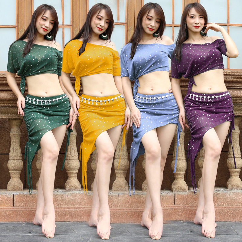 Belly Dance Set Hot Sell Shine Silver Knit Women Team 2 Piece Top & Short Skirt Nightclub DJ Performance Practice Dancewear