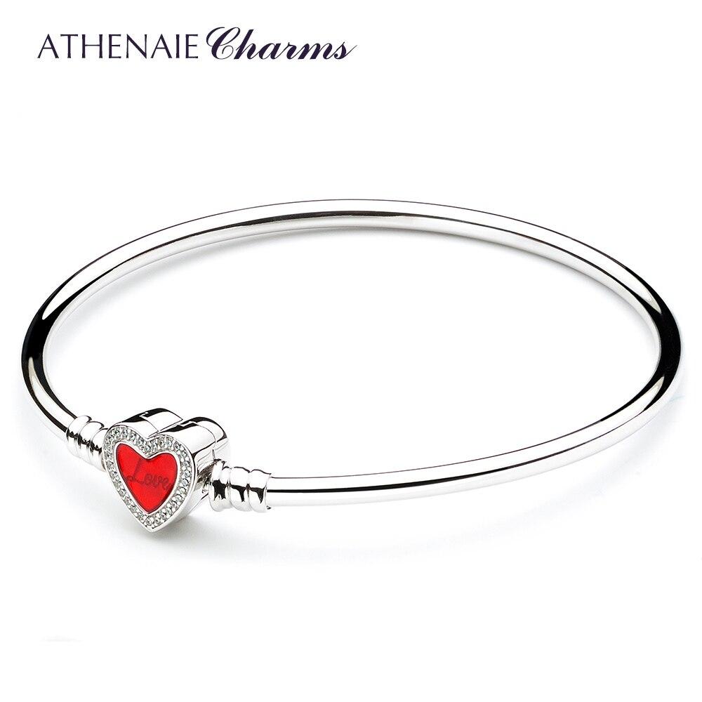 ATHENAIE 925 Sterling Silver Basic Charm Bracelet Bangle Pave Clear CZ Heart Shaped Enamel Snap Clasp