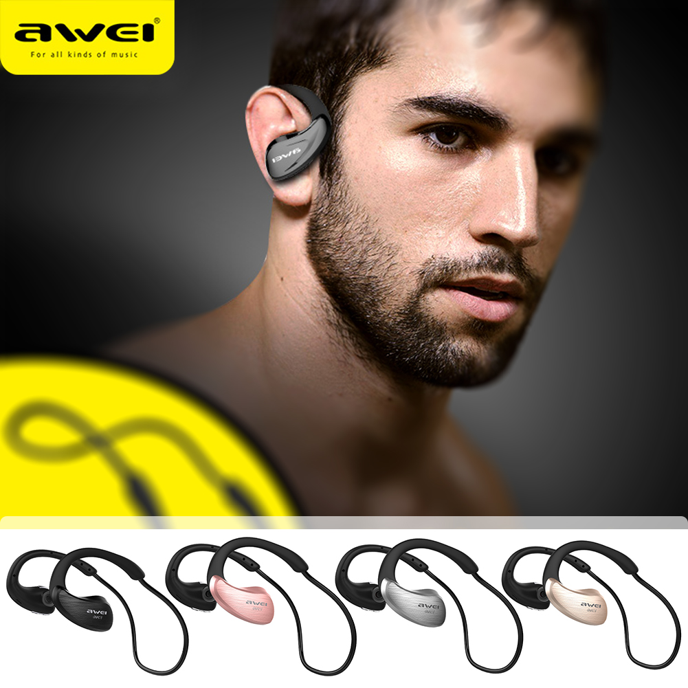 YCDC Awei A885BL Wireless Earphones Bluetooth 4.1 Headset Waterproof Sports HiFi Built-in NFC for WP Android IOS Smart Phone awei a870bl multi function bluetooth v4 1 hands free call headset dual usb car charger earphones for android ios smartphone