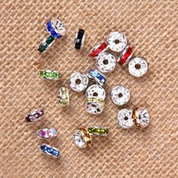 100pcs 5mm 6mm Mixed Color Crystal Metal Spacer Beads Rhinestone Shamballa Beads Basketball Wives Earrings Bead