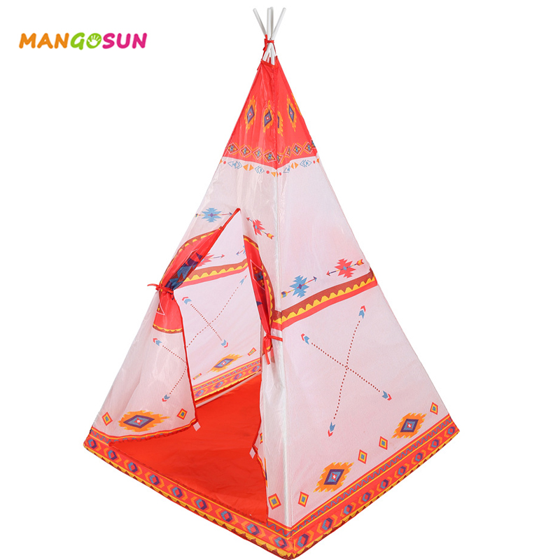 Kids Indian Teepee Tent Children Play Game House Tent Girls Boys Play Ball Pool Folding Indoor Outdoor Picnic Travel Toys Tent