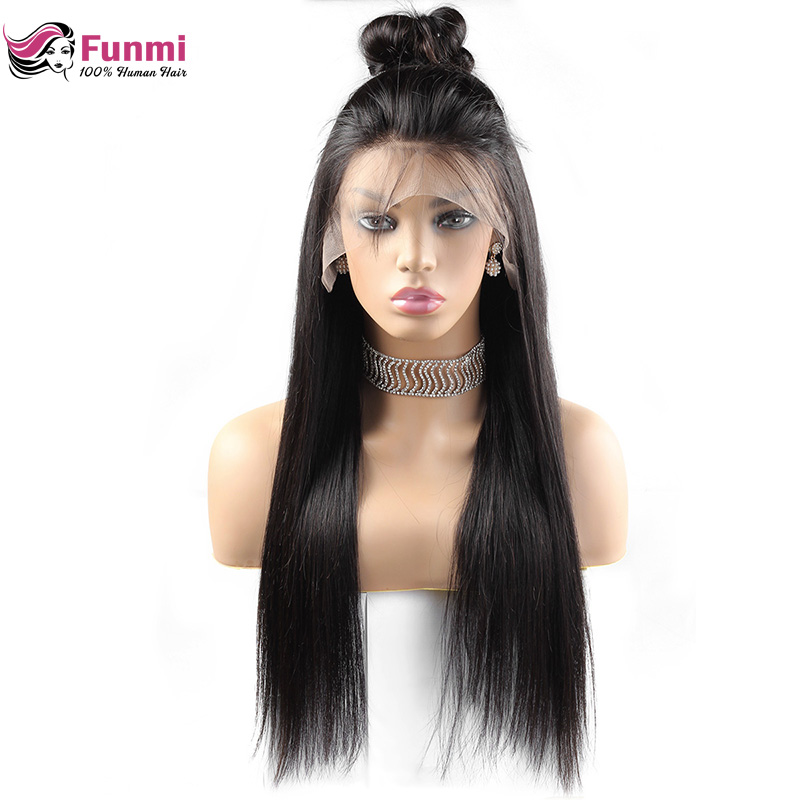Funmi Glueless Lace Front Human Hair Wigs For Black Women Pre Plucked Brazilian Straight Lace Wigs With Baby Hair 13x4 Remy Wig