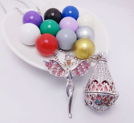 SHIYING tower crystal angel new design factory produce Wind Ringing Pendant Colors Brass Metal Angel Ball in Necklaces