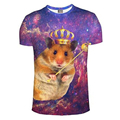 2016 new t shirt men fashion brand clothing 3D Printed Galaxy Imperial Crown Hamster T-shirt Casual hip hop mma tshirt homme