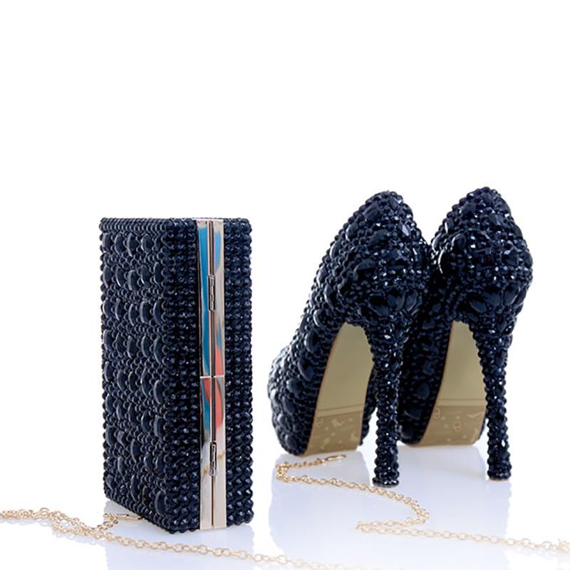 Cristal Femmes Mariage Grand Taille black 12cm Heel Or gold Chaussures Noir Plate Talons Cuir À forme Véritable A Mariée Et Pompes Black En De Bourse Heel 14cm Haute Sacs Heel B 10cm Correspondant vqd1MEqF