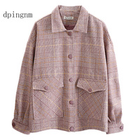 Fashion Za Vintage Women Patchwork Plaid Tweed Jacket single Breasted Pocket Long Sleeve Female Coat Casaco Femme