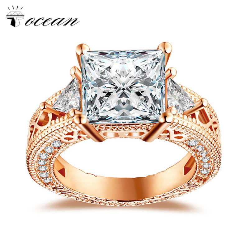 Tocean Rose Gold Color Handsome Cute Wedding Rings for Women Square AAA Zircon Engagement Fashion Bijoux Bague Size 5-10 H436