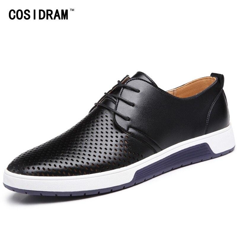 Cosidram с вырезами Мужская обувь из натуральной кожи Новые 2018 летние модные повседневные мужские ботинки для мужчин Спортивная обувь rme-336