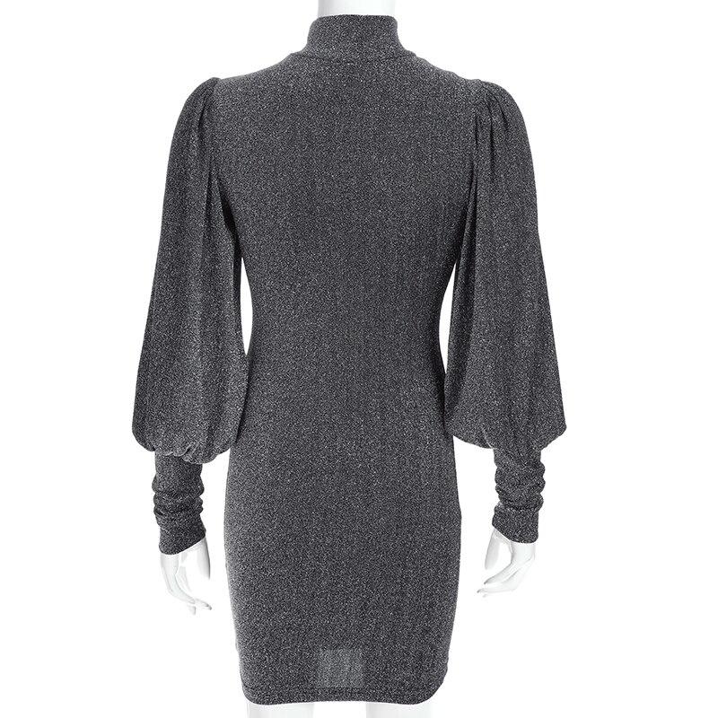 Waatfaak Autumn Glitter Dress Long Sleeve Evening Sexy Bodycon Dresses High  Neck Vestidos Vintage Knitted Mini Dress Women 2018 -in Dresses from Women s  ... d2a7ba292974