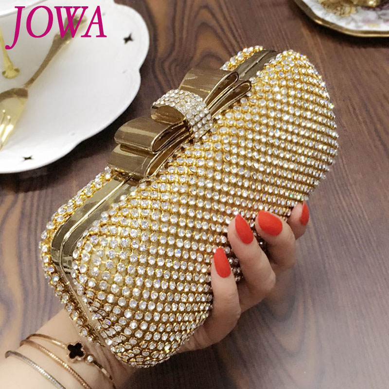 2017 Women's Fashion Evening Bags Shiny Diamonds Handbags Wedding Party Mini Clutches Socialite Bow Gold Night Purse Chains Bag