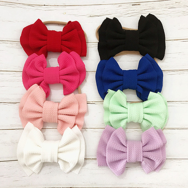 9 Colors Lovely Big Bow Headbands DIY Double deck Bowknot Nylon Hair Bands For Baby Girls Children Head Wraps Hair Accessories 1