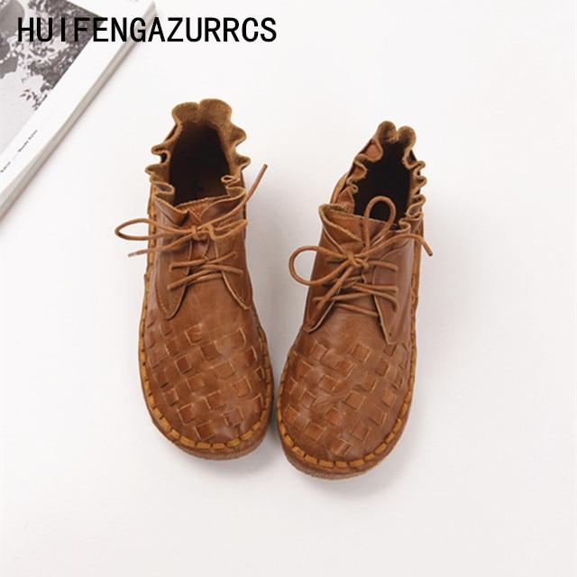 HUIFENGAZURRS-new 2017 Head layer cowhide pure handmade weave shoes,lady the retro art mori girl shoes,lady Casual shoes,4color huifengazurrcs new pure handmade casual