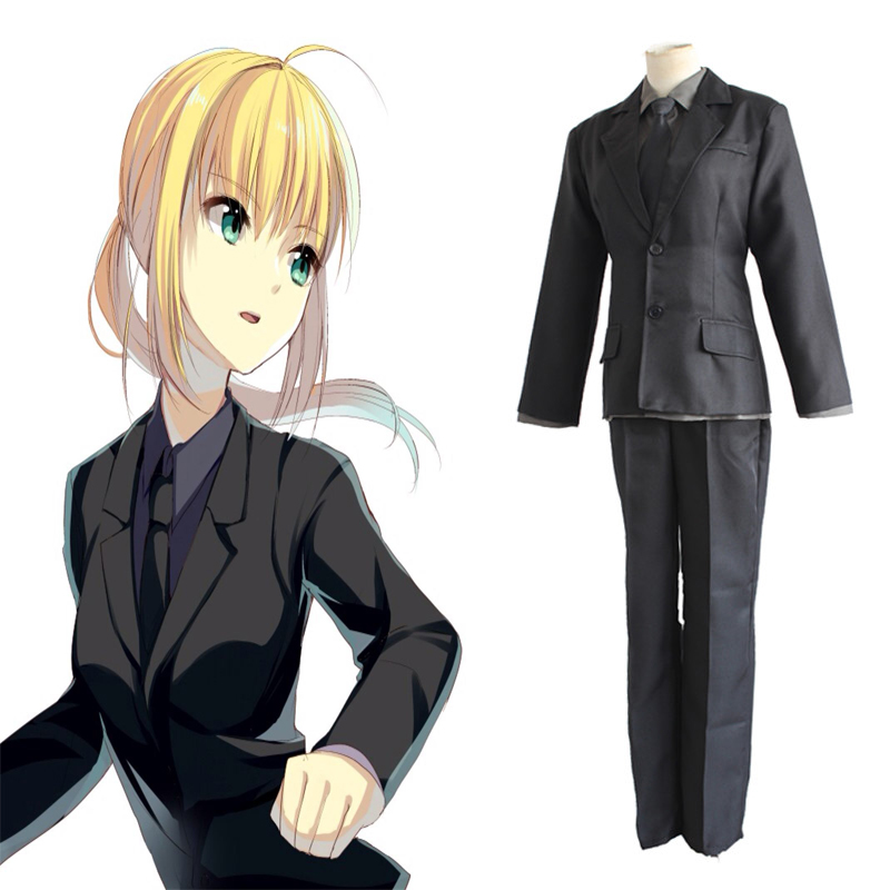 Anime Fate Stay Night Cosplay Costumes Altria Pendragon Saber Black Suit Cosplay Costumes Halloween Carnival Party Costume
