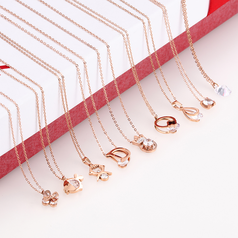 Necklaces & Pendants The Best New Fashion Luxury Rose Gold Love Pendant Necklace For Women High Polish 316l Stainless Steel Necklace Jewelry Packing Of Nominated Brand