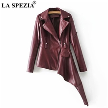 LA SPEZIA Solid Color Jacket Women Asymmetrical Burgundy Coat Female Faux Leather European Style Ladies Spring Cool Outwear Coat