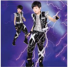 Boy's Jazz Dance Costume Set New Kids Sequin Top & Harem Pants Sets Fashion Mordern Children Hip Hop Clothing цены