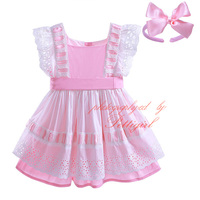 Pettigirl Lastest Cotton Toddler Princess Dress With Headwear Hollow Out Boutique Baby Girls Dress Pink Clothing G-CMGD907-814
