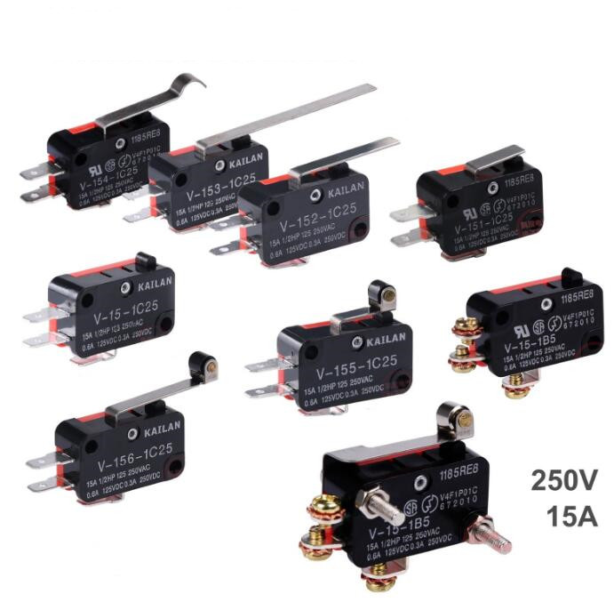 5 Pcs 15A 250VAC V-15 Push Button SPDT 1NO 1NC Micro Switch limit switches plug in side plunger std 1nc 1no spdt