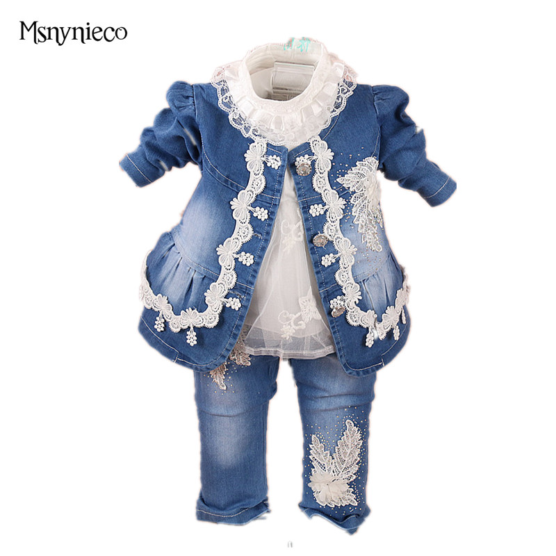 High Quality 2018 Fashion Baby Girl Clothes Set Sping Girl Flower Denim Jacket +t shirt+Pants 3pcs Suits Clothing Sets for 0-2Y fashion baby girl t shirt set cotton heart print shirt hole denim cropped trousers casual polka dot children clothing set