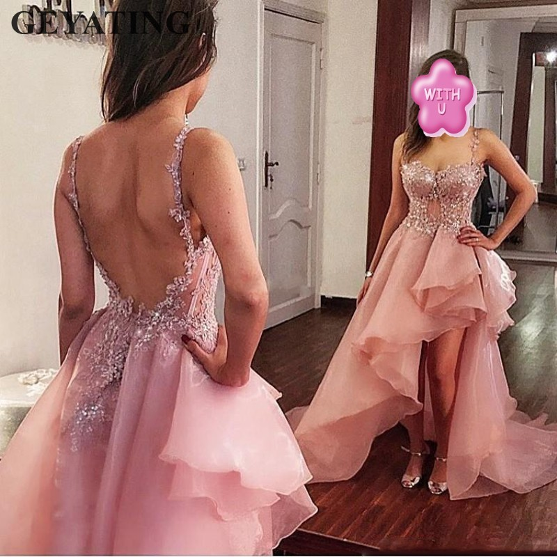 Elegant Blush Pink Hi Low   Prom     Dresses   2019 Sexy Backless Long Evening Gowns Spaghetti Straps Ruffles Lace Formal Party   Dress