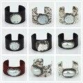 Original luxury jewelry real snake leather pearl shell charm rhinestone customized big cuff adjustable open bracelets & bangles
