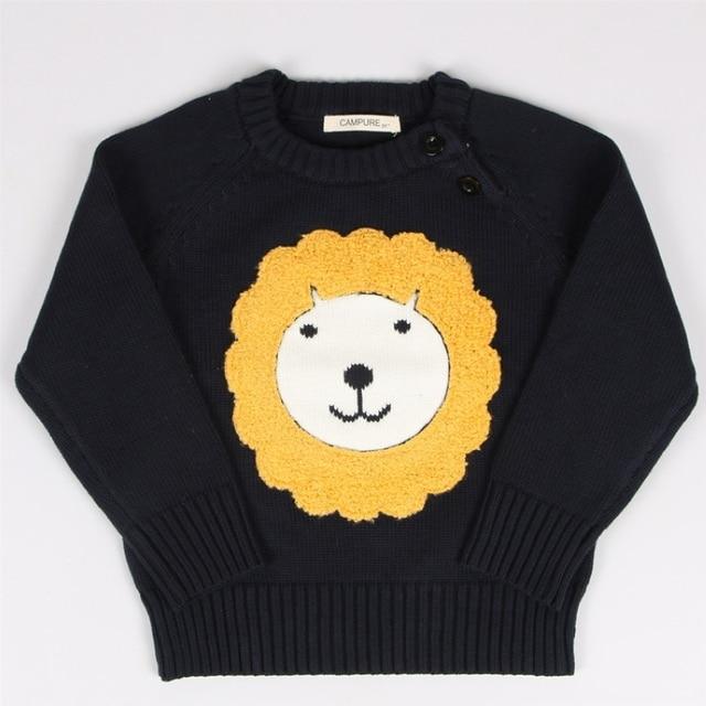 Autumn Children Cartoon Lion Sweater Baby Cotton Knitting Sweater Boy Girl Pullover Tops Children's Clothing 1-5 Years