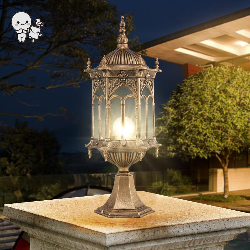 Outdoor Black Copper Landscape Lighting Fixture Waterproof European Art Deco Pillar Pole Lamp for Villa Garden Yard E27 Bulb