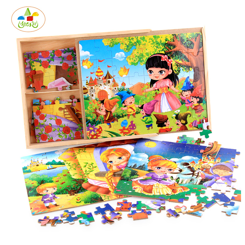 ФОТО YLB 40/60/80/100PCS Wooden Puzzle Baby Toys Figure Statue Princess Pattern Wooden Box Kids Early childhood Education