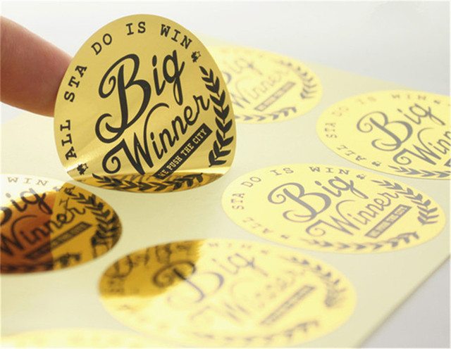 1000pcs customized round glossy gold brand logo stickers labels custom durable gold name printed adhesive stickers