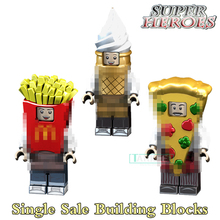 1pc pizza ice cream Fries peanut fruit disguised super heros Building Blocks Action Figure Children kids diy Gift Toys