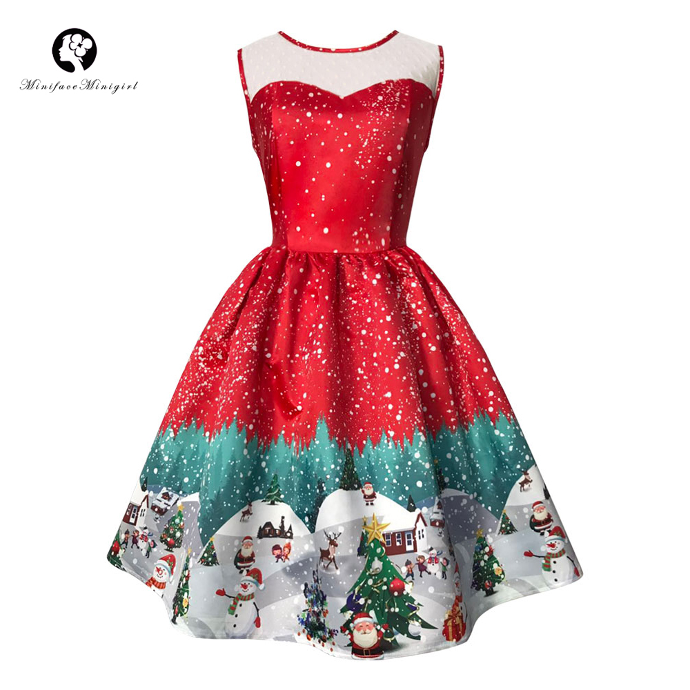 Vintage Women Red Winter Dress 2017 Santa Print Retro Slim A Line O Neck Swing Sleeveless